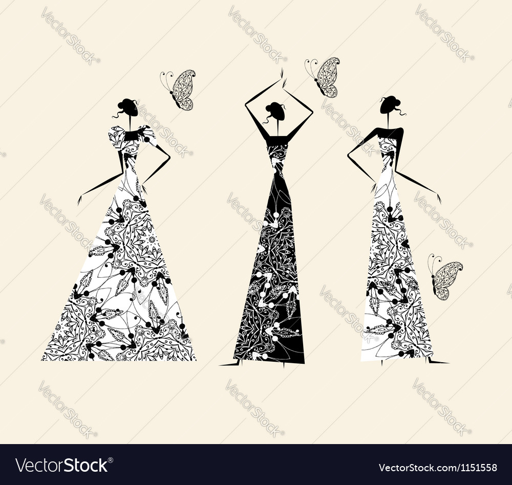 Fashion girls in wedding dresses for your design vector | Price: 1 Credit (USD $1)