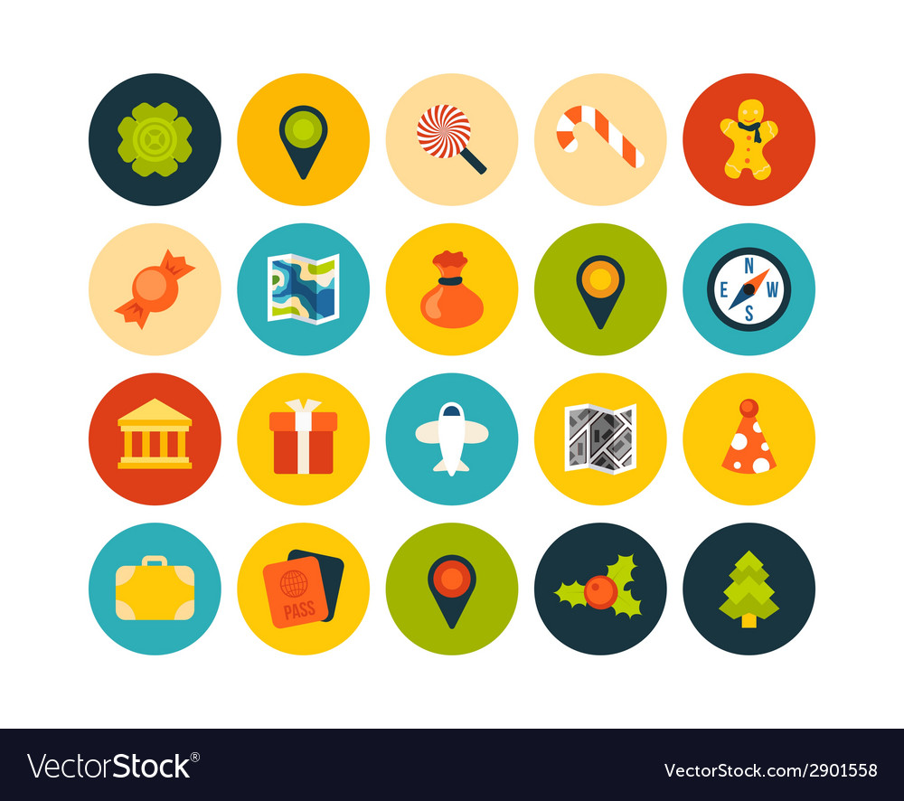 Flat icons set 3 vector | Price: 1 Credit (USD $1)