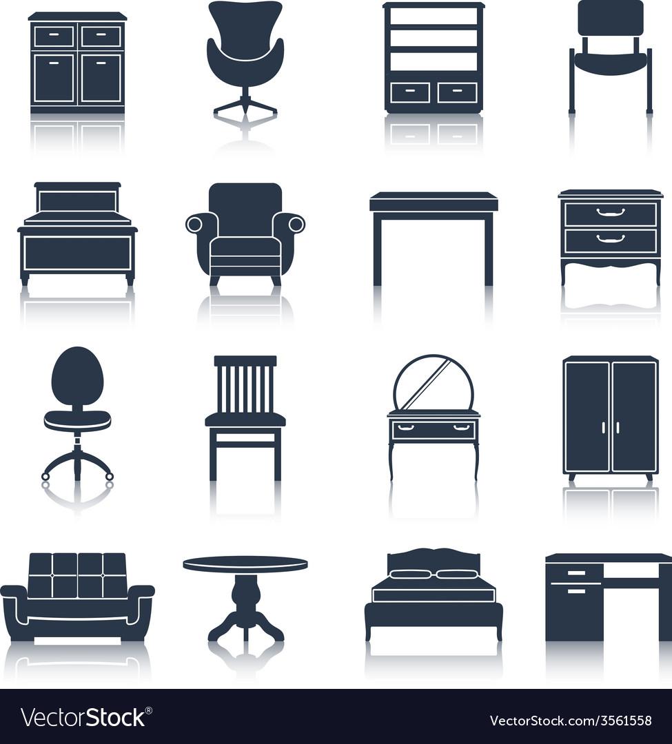 Furniture icons black vector | Price: 1 Credit (USD $1)