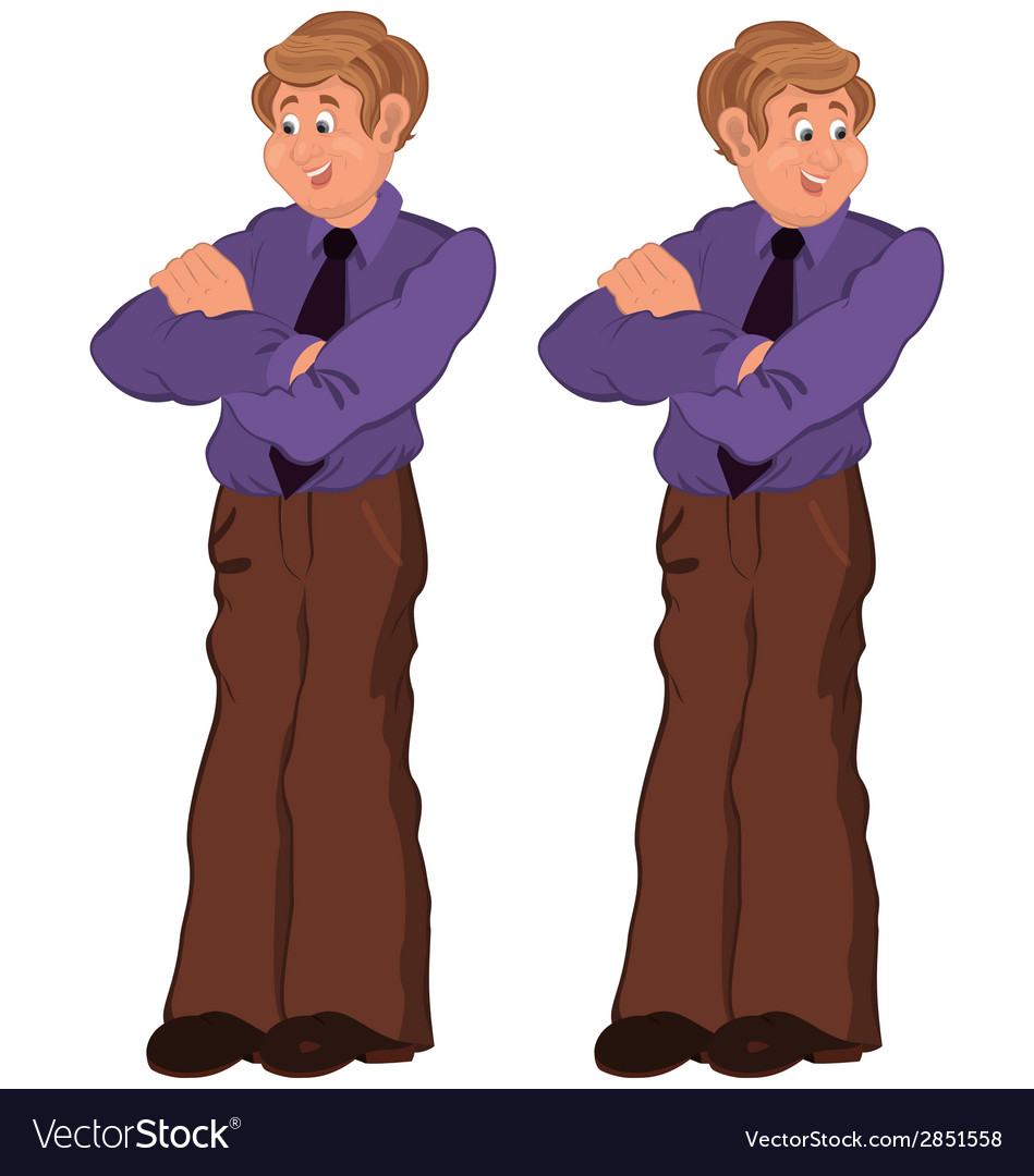Happy cartoon man standing in purple shirt and tie vector | Price: 1 Credit (USD $1)