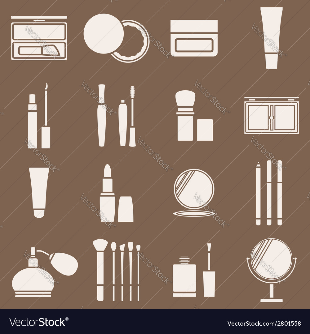 Icons cosmetics in a light beige silhouette vector | Price: 1 Credit (USD $1)