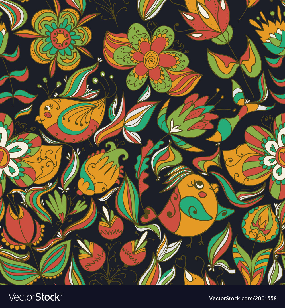 Seamless dark floral pattern with birds vector | Price: 1 Credit (USD $1)