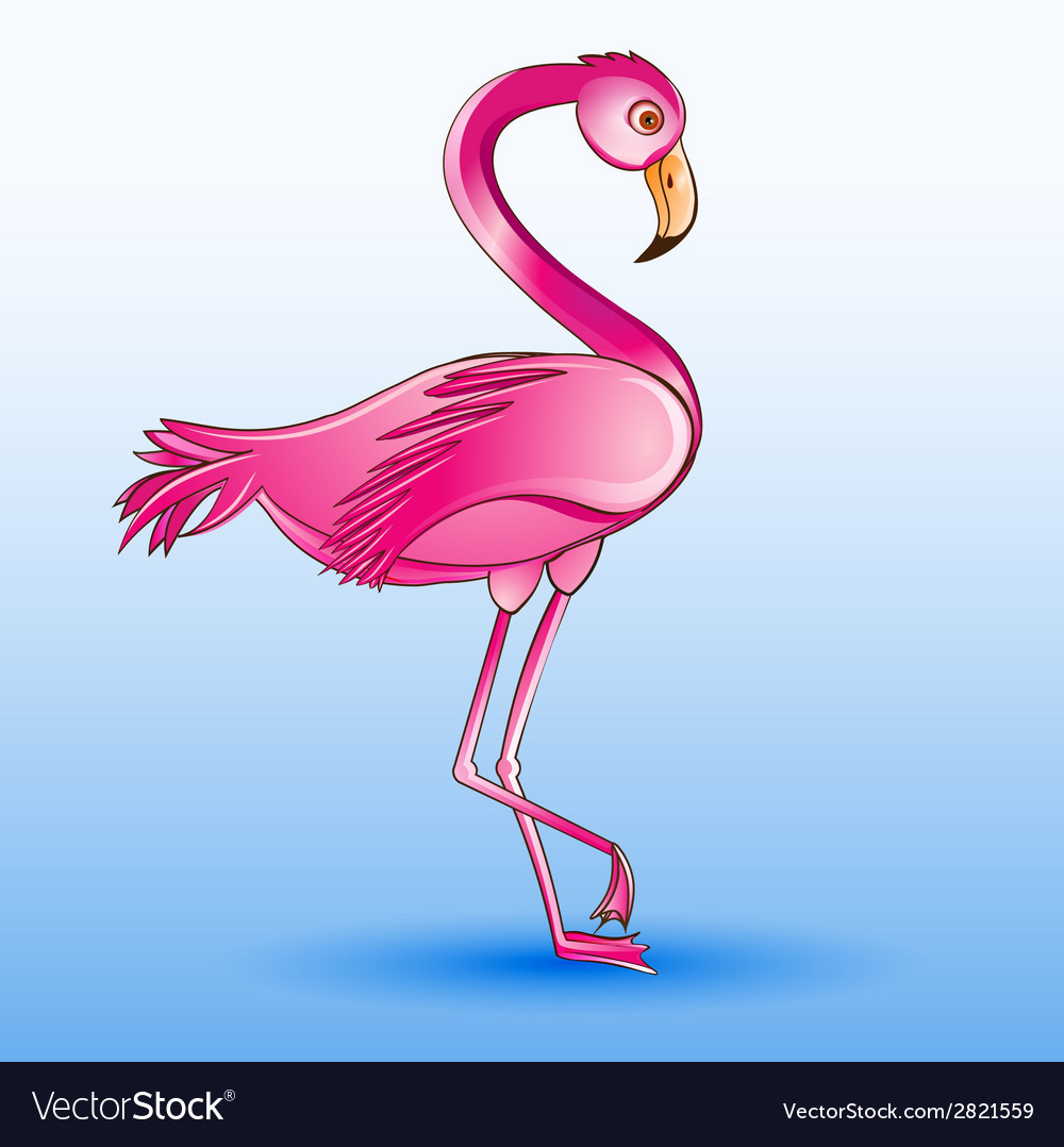 A pink flamingo standing on a blue vector | Price: 1 Credit (USD $1)