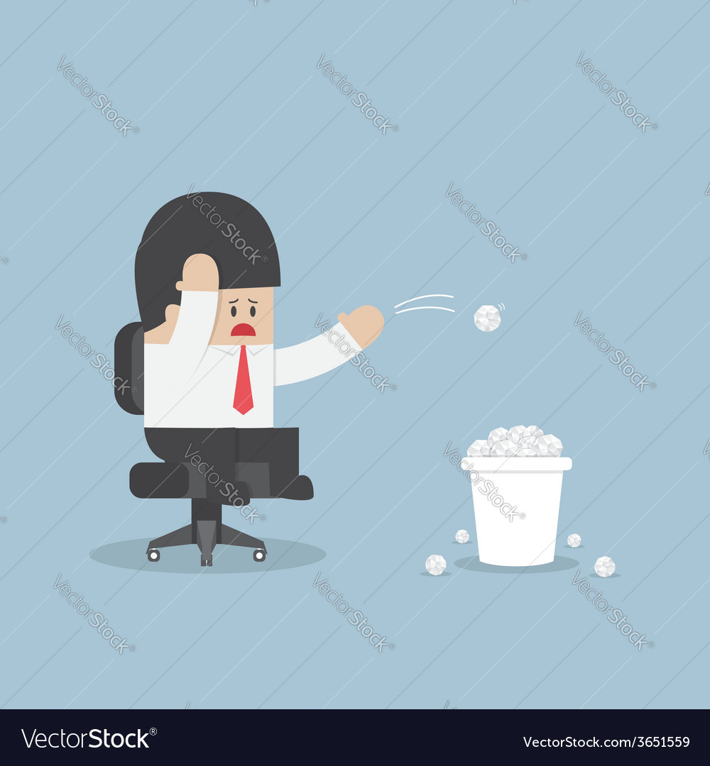 Businessman have no idea and throwing crumpled pap vector | Price: 1 Credit (USD $1)