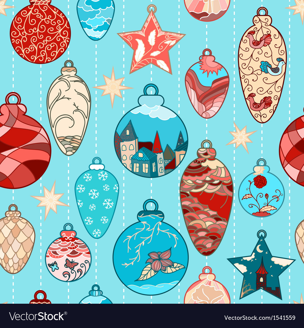 Christmas hand-drawn pattern with balls vector | Price: 3 Credit (USD $3)
