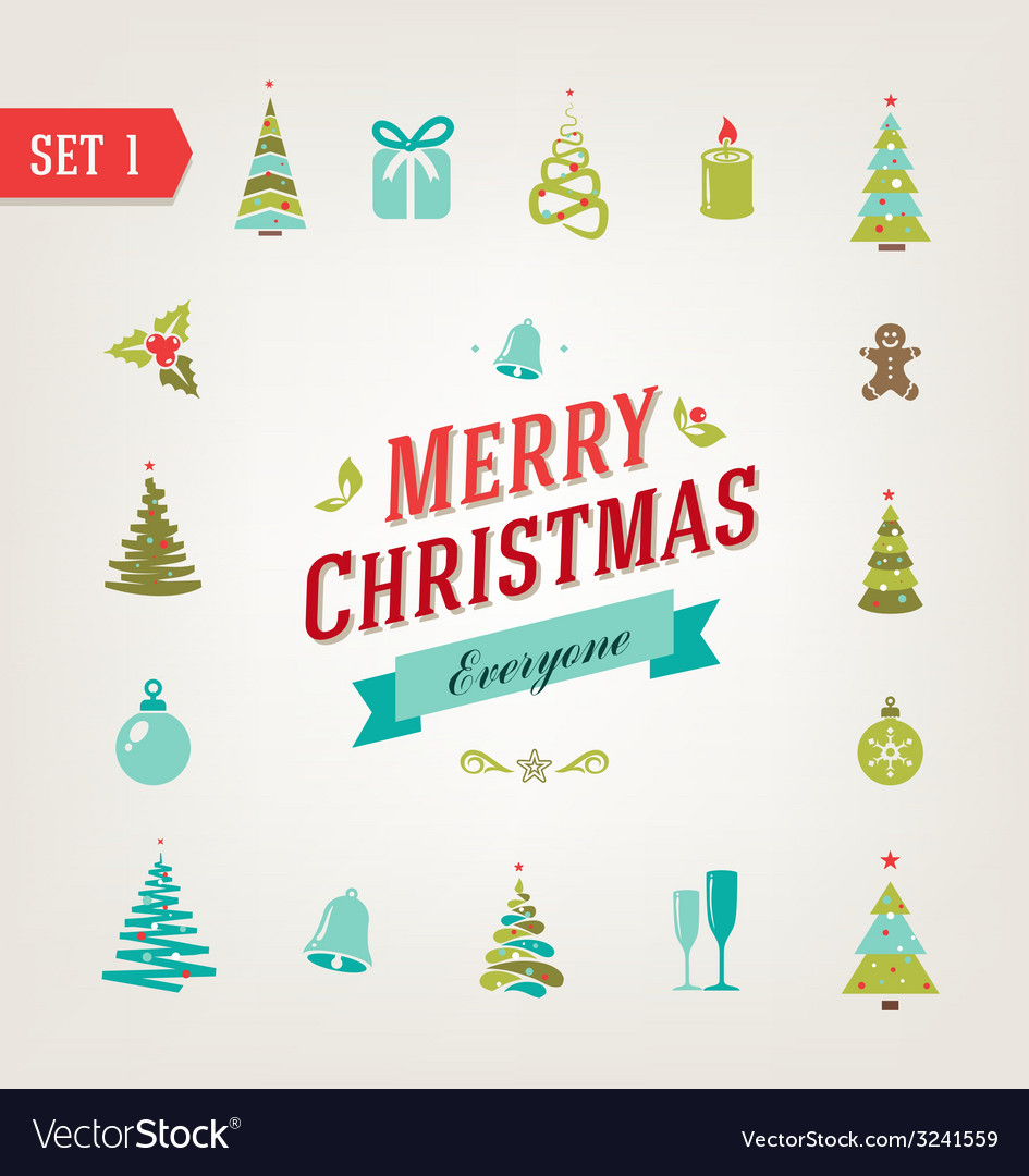 Christmas retro icons logo elements vector | Price: 1 Credit (USD $1)