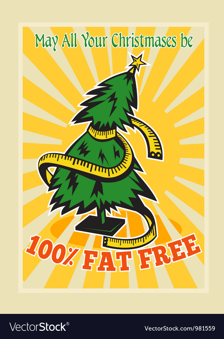 Fat free christmas tree tape measure vector | Price: 3 Credit (USD $3)