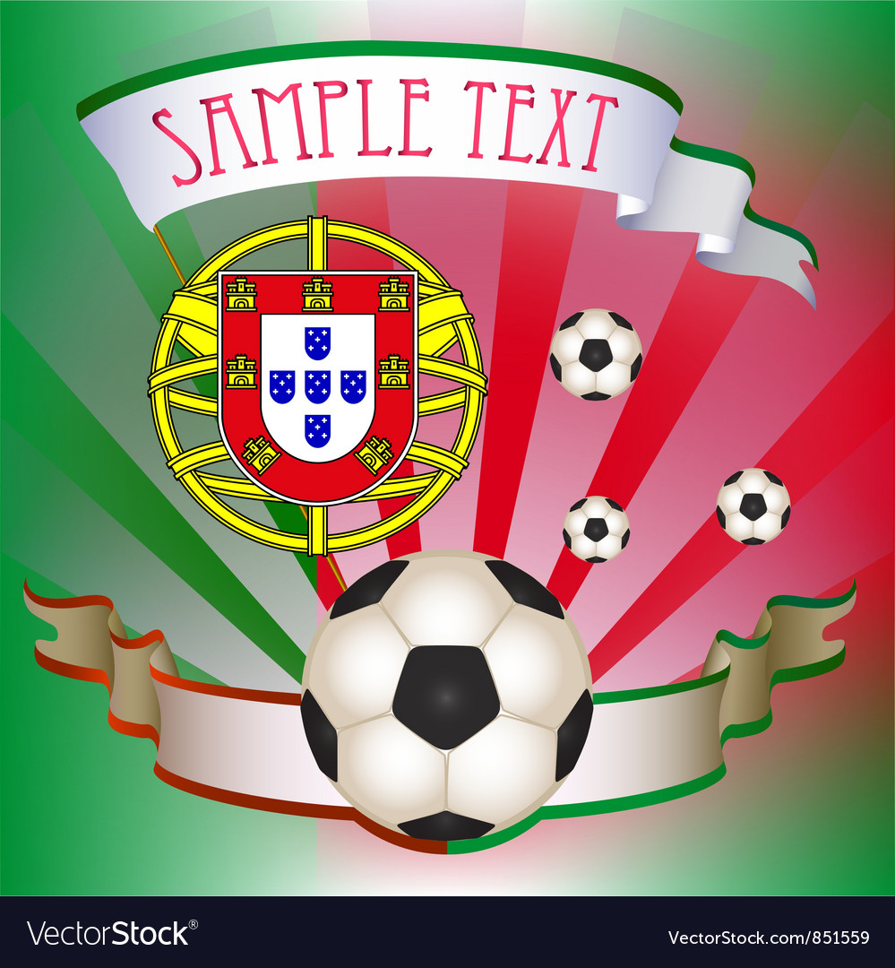 Football poster with portugal flag vector | Price: 1 Credit (USD $1)