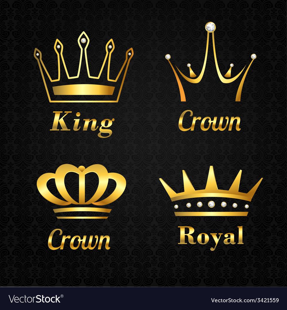 Golden crown labels set vector | Price: 1 Credit (USD $1)