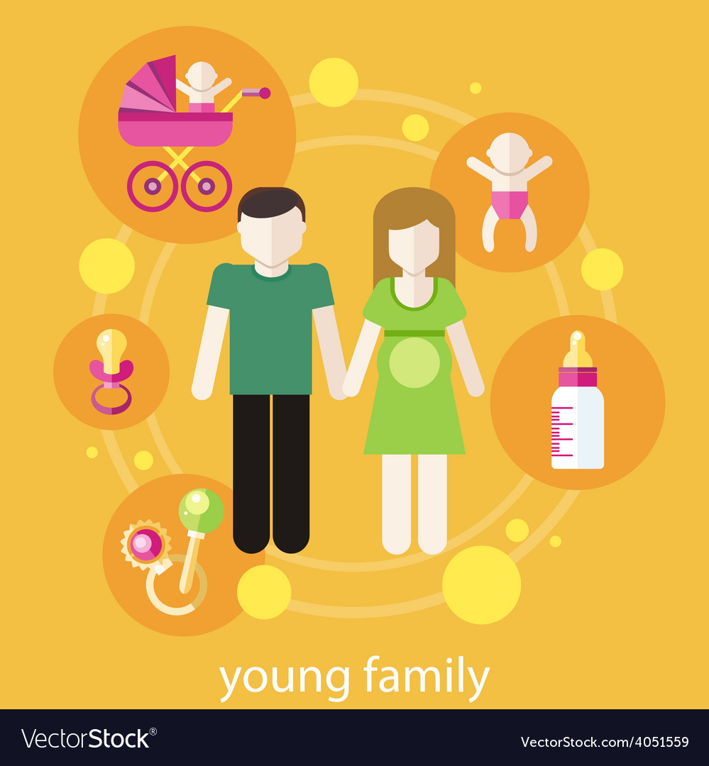 Lovely young family concept vector | Price: 1 Credit (USD $1)