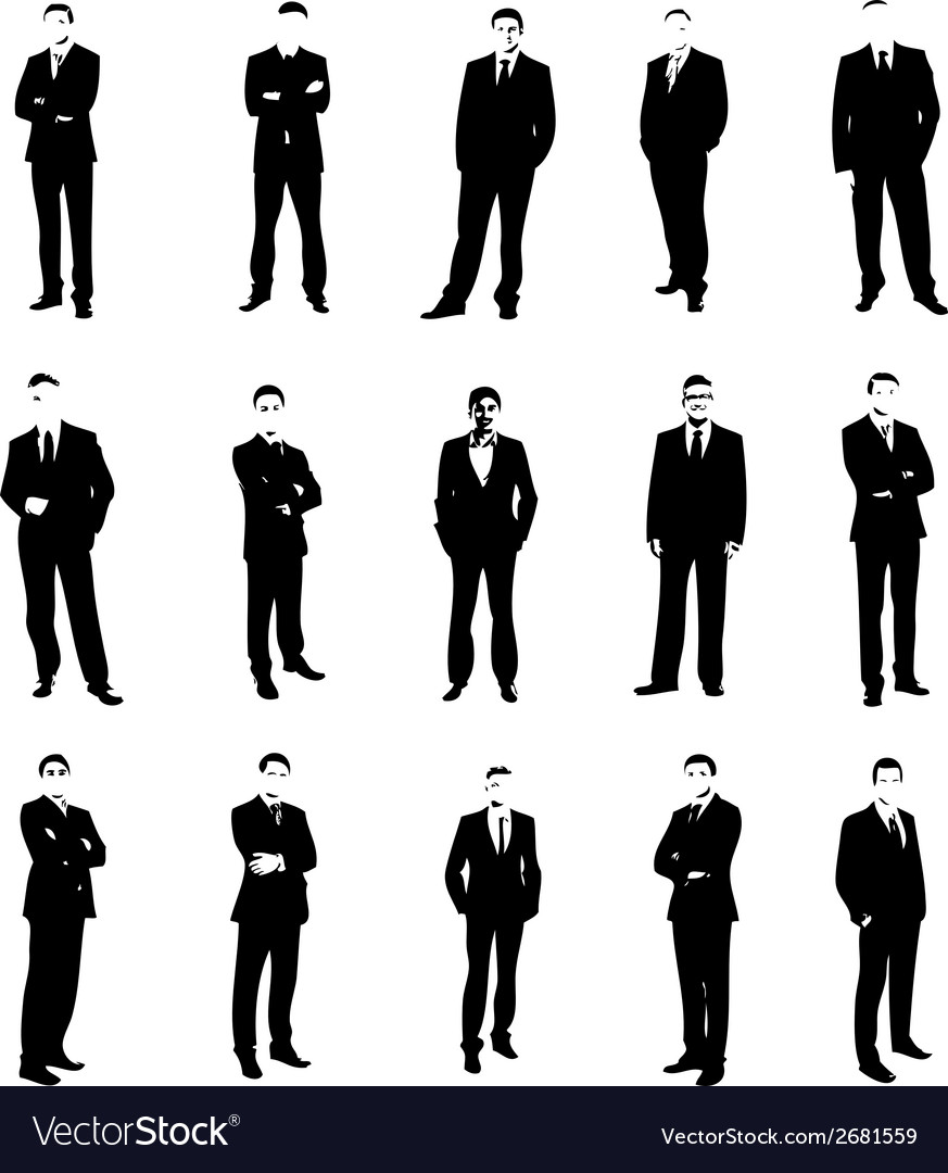 Set men silhouettes vector | Price: 1 Credit (USD $1)