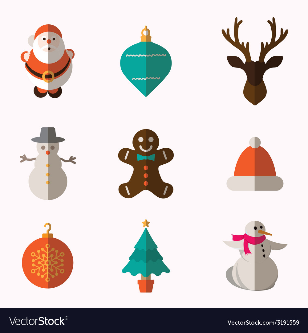 Set of modern style christmas flat icons vector | Price: 1 Credit (USD $1)
