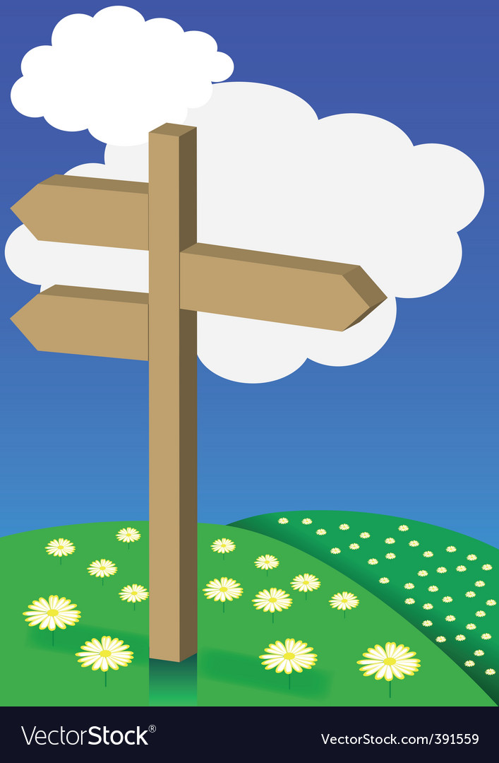 Spring background signpost on meadow vector | Price: 1 Credit (USD $1)