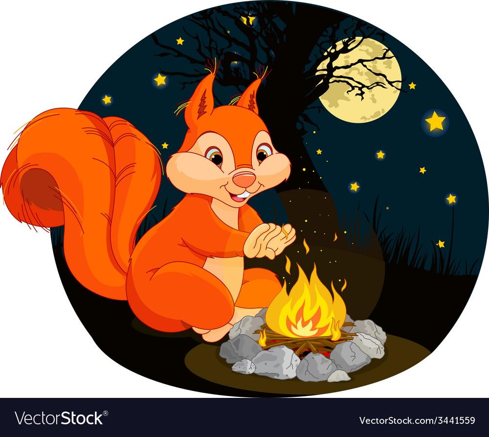 Squirrel campfire vector | Price: 3 Credit (USD $3)