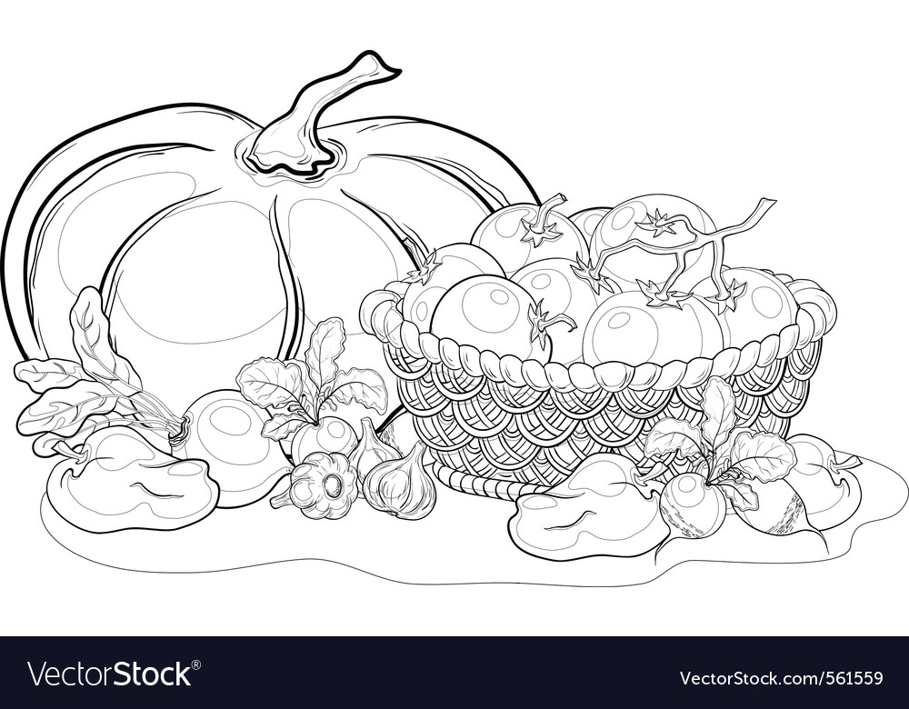 Vegetables still life outline vector | Price: 1 Credit (USD $1)