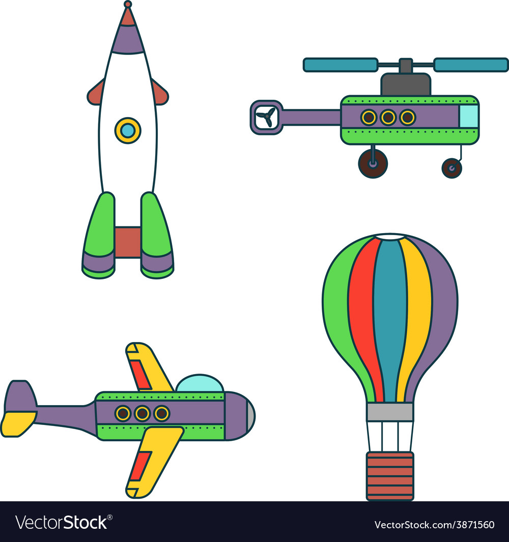 Abstract air vehicles thin line icons set vector | Price: 1 Credit (USD $1)