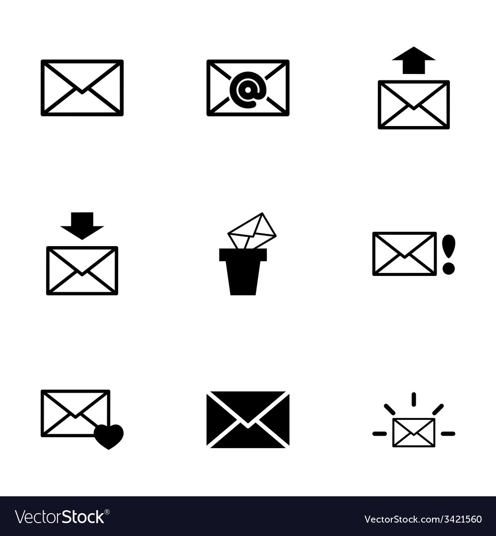 Black email icon set vector | Price: 1 Credit (USD $1)