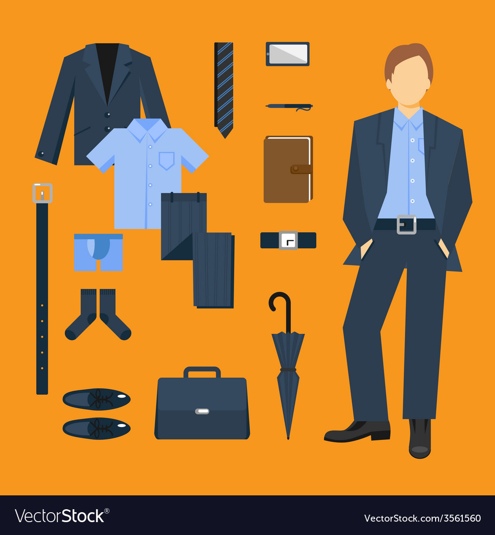 Business man clothes set vector | Price: 1 Credit (USD $1)