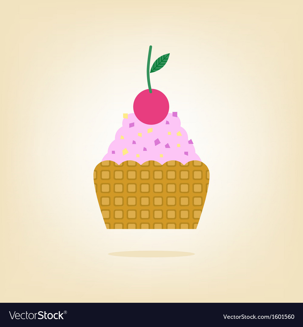 Cake with cherry isolated on the background vector | Price: 1 Credit (USD $1)