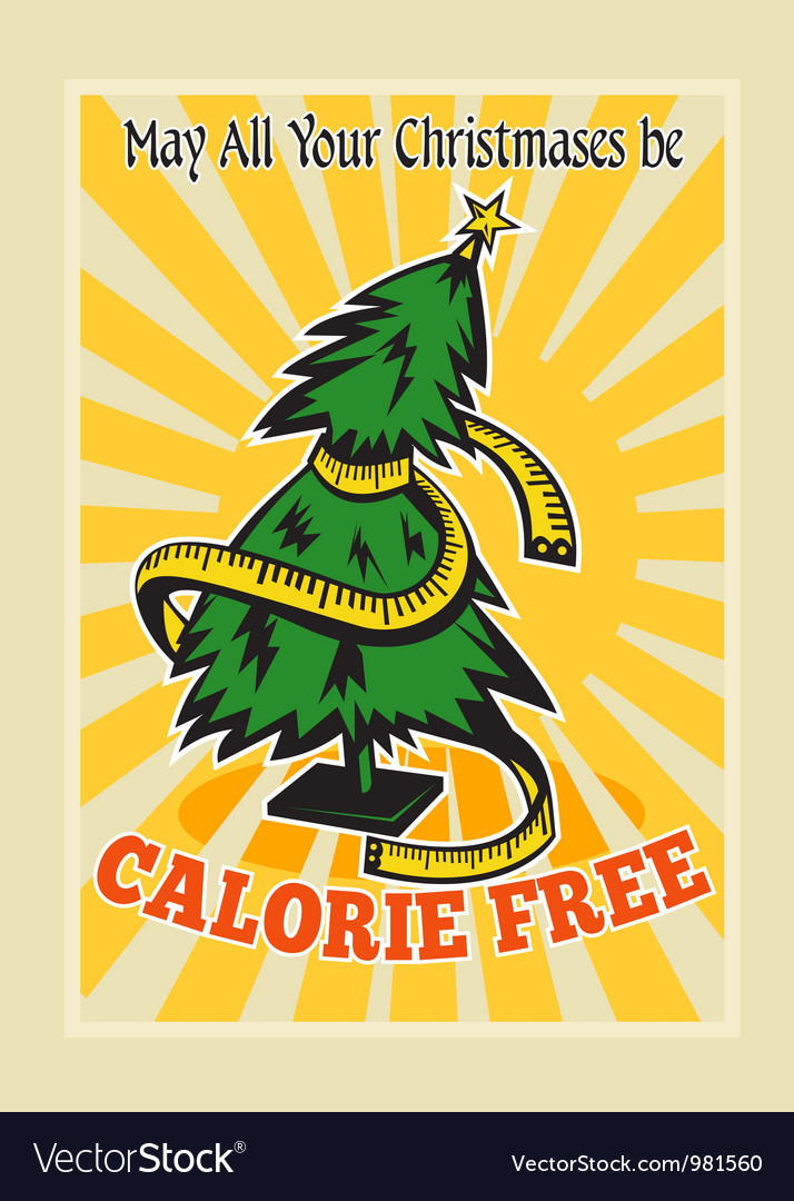 Calorie free christmas tree tape measure vector | Price: 3 Credit (USD $3)