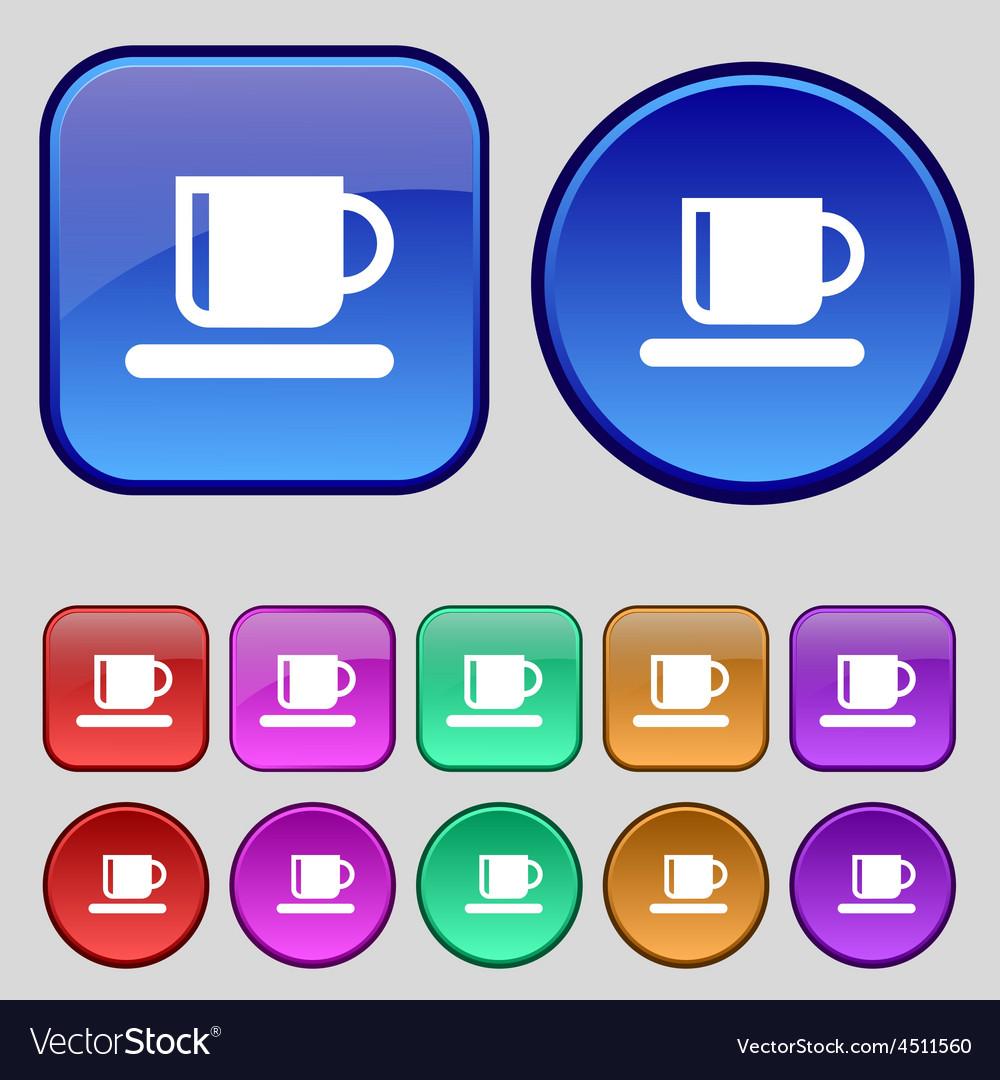 Coffee cup icon sign a set of twelve vintage vector | Price: 1 Credit (USD $1)