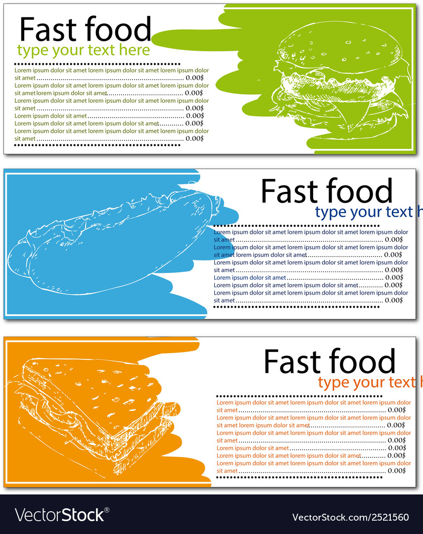 Fast food menu cards with burger hot dog and vector | Price: 1 Credit (USD $1)