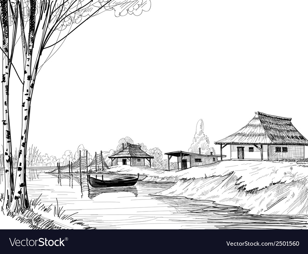 Fishing village sketch vector | Price: 1 Credit (USD $1)