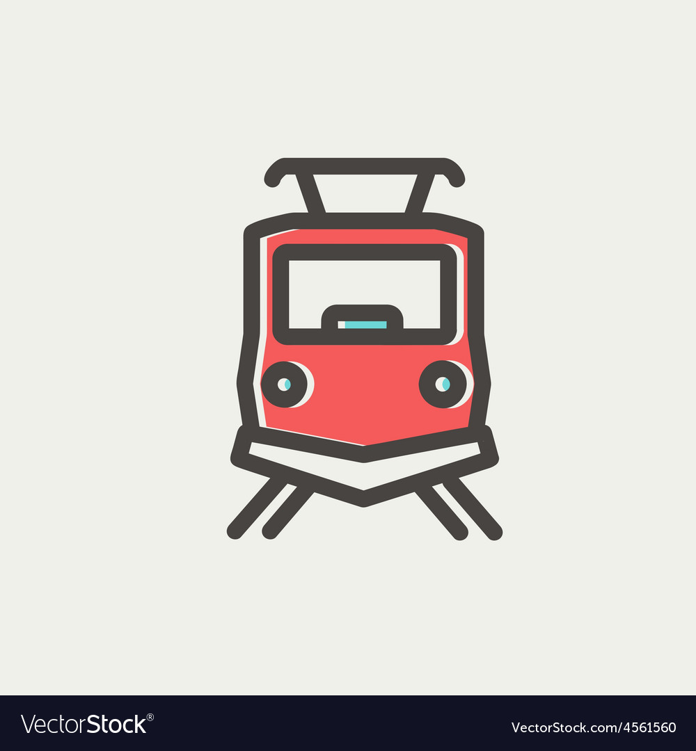 Front view of the train thin line icon vector   Price: 1 Credit (USD $1)