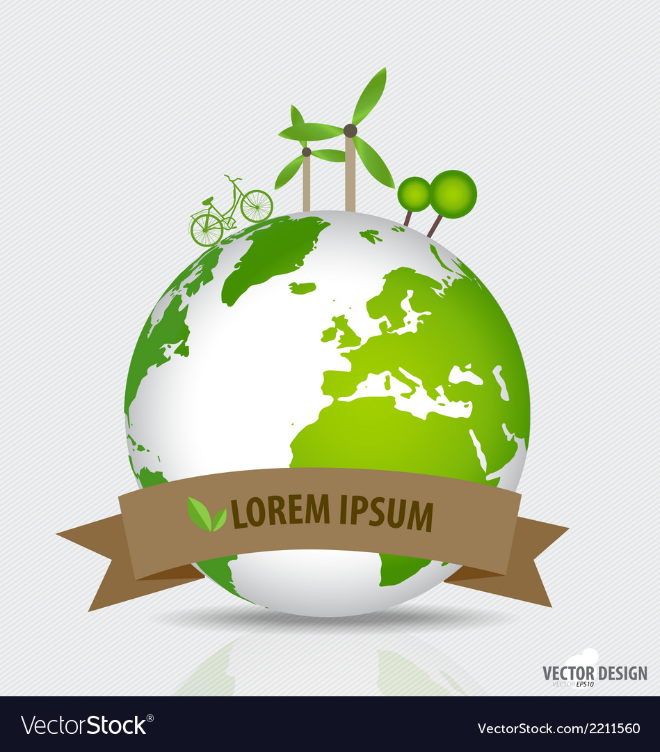 Green planet earth concept green eco background vector | Price: 1 Credit (USD $1)