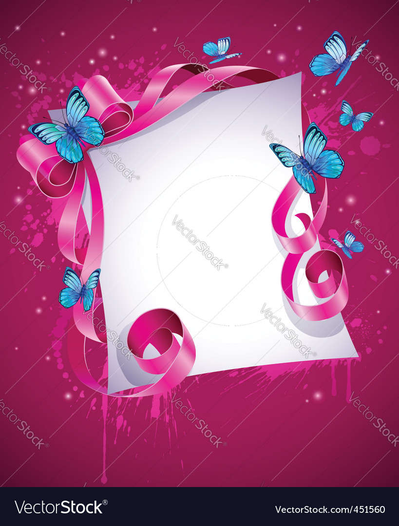Greeting card with pink bow vector | Price: 3 Credit (USD $3)