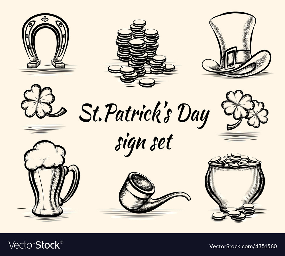 Hand drawn st patricks day signs vector | Price: 1 Credit (USD $1)