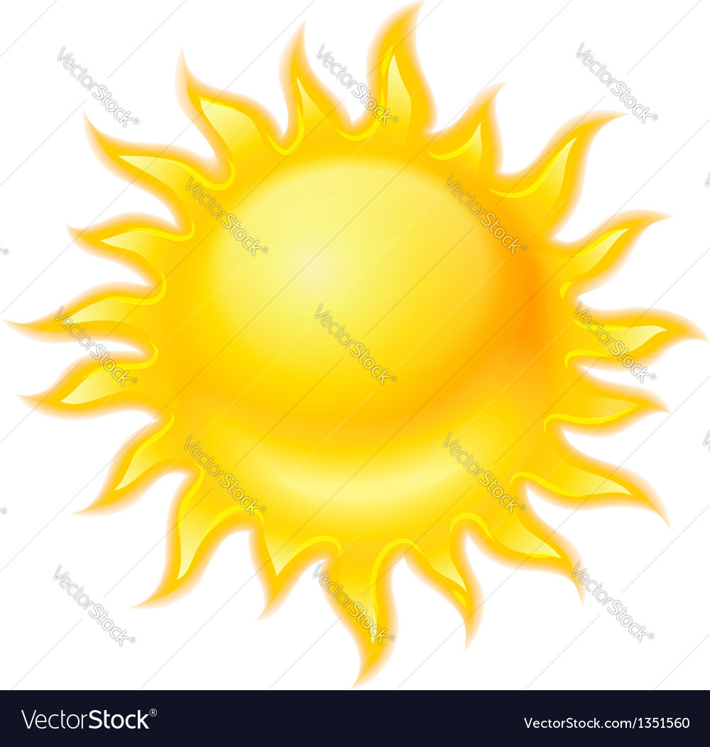 Hot yellow sun icon isolated vector | Price: 1 Credit (USD $1)