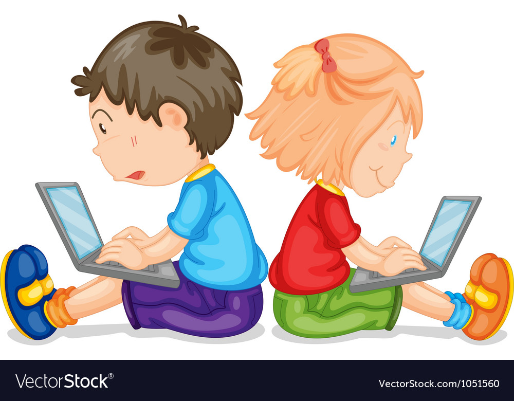 Kids with laptop vector   Price: 3 Credit (USD $3)