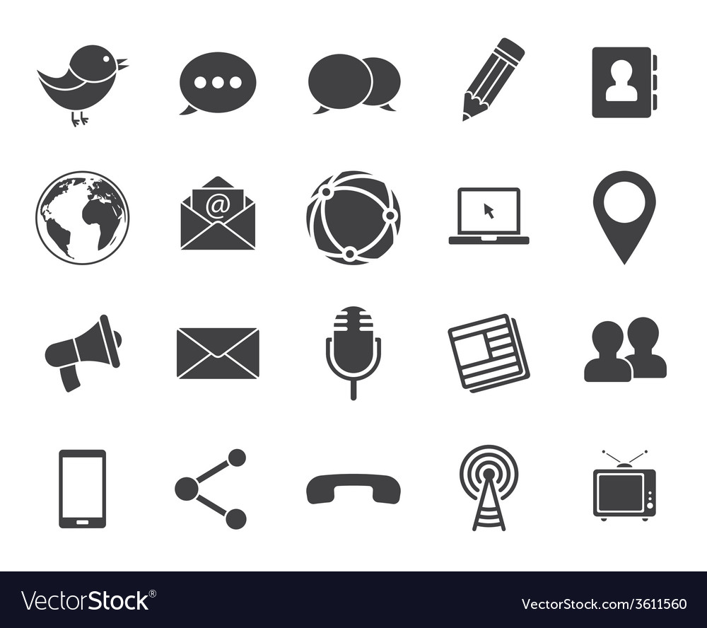 Media communication icons vector | Price: 1 Credit (USD $1)