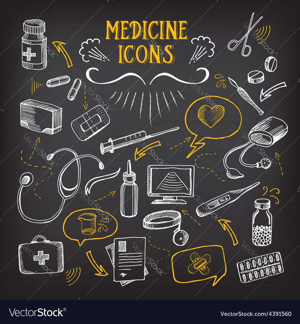 Medical icons sketch design healthcare drawing vector | Price: 1 Credit (USD $1)