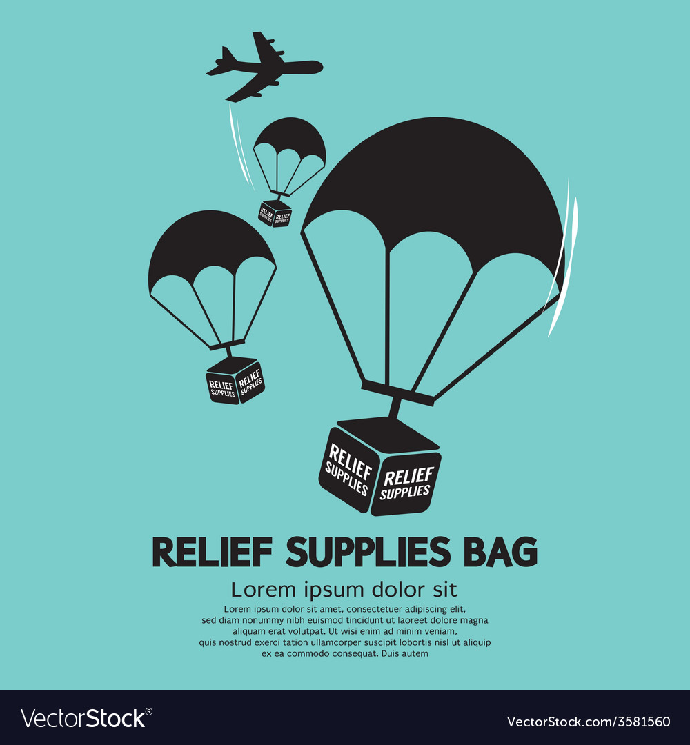 Relief supplies bag with parachutes vector | Price: 1 Credit (USD $1)