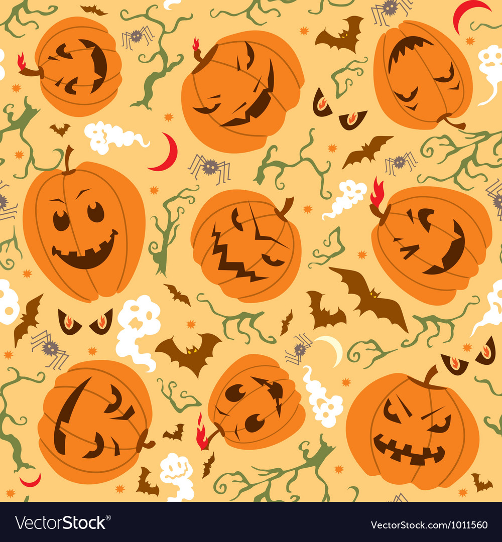 Scary halloween seamless pattern vector | Price: 1 Credit (USD $1)