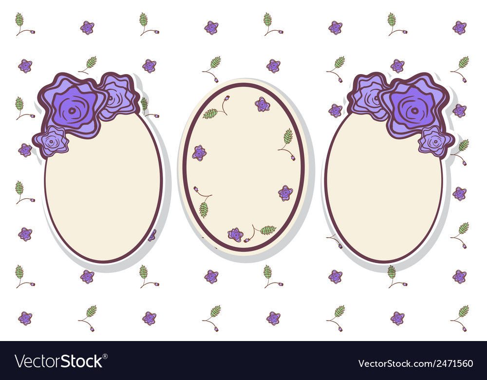 Set of retro frames with abstract roses vector | Price: 1 Credit (USD $1)