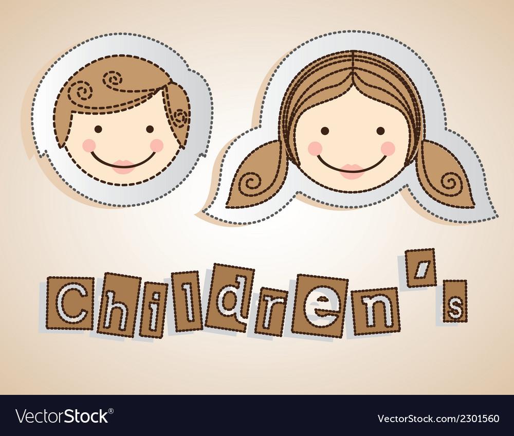 Sticker childrens heads vector | Price: 1 Credit (USD $1)