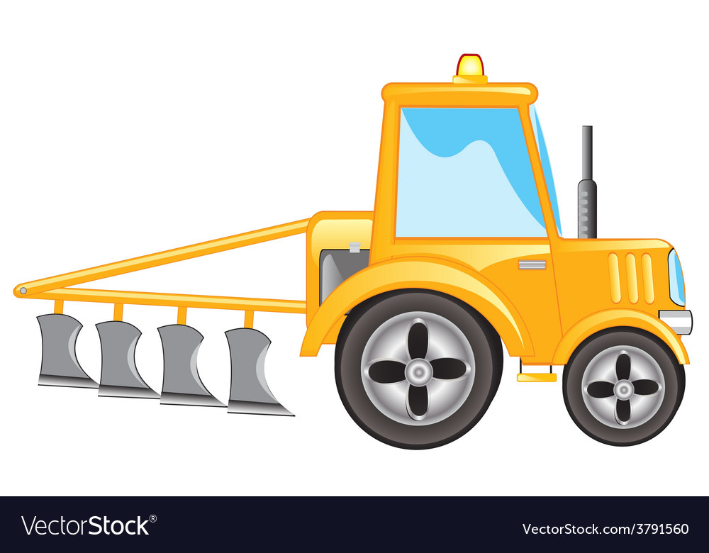 Tractor with plow vector | Price: 1 Credit (USD $1)