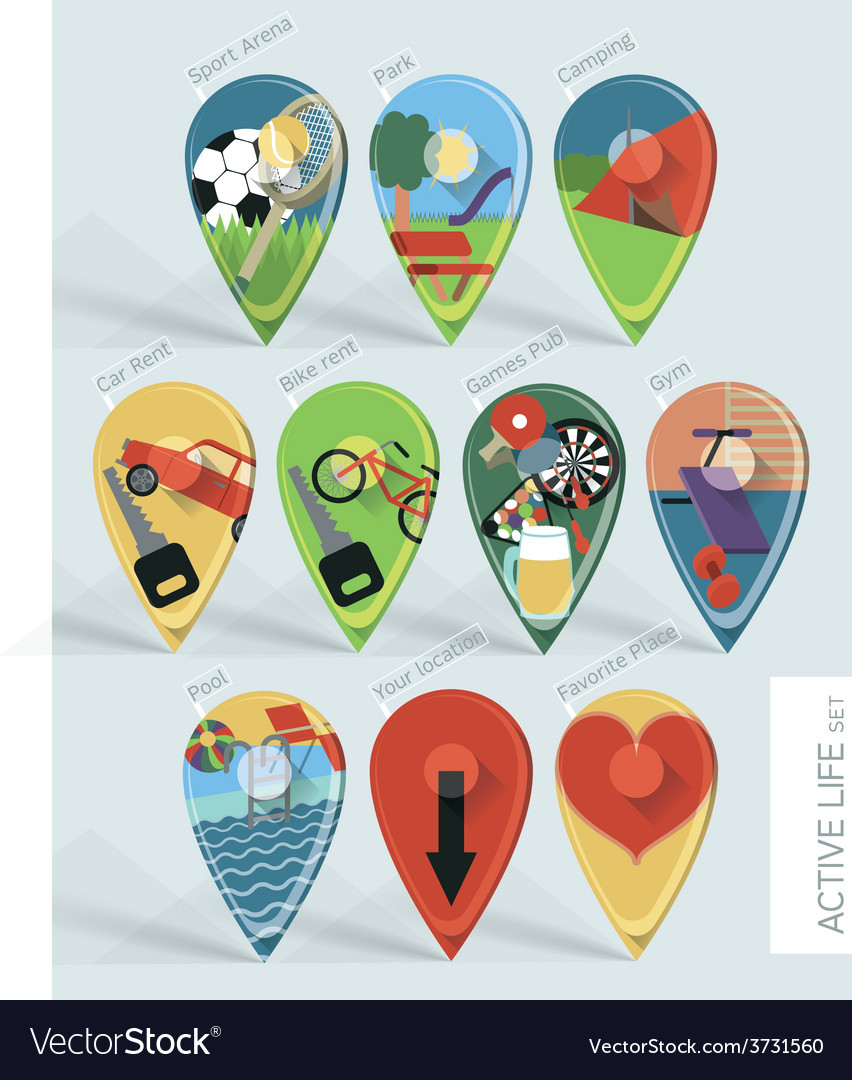 Travel map pins vector | Price: 1 Credit (USD $1)