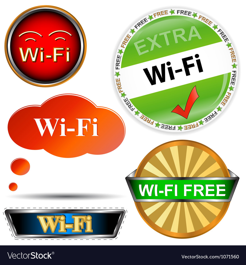 Wi fi logos set vector | Price: 1 Credit (USD $1)