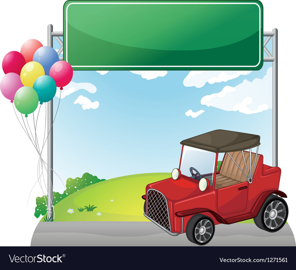 A red jeep near an empty green board vector | Price: 1 Credit (USD $1)