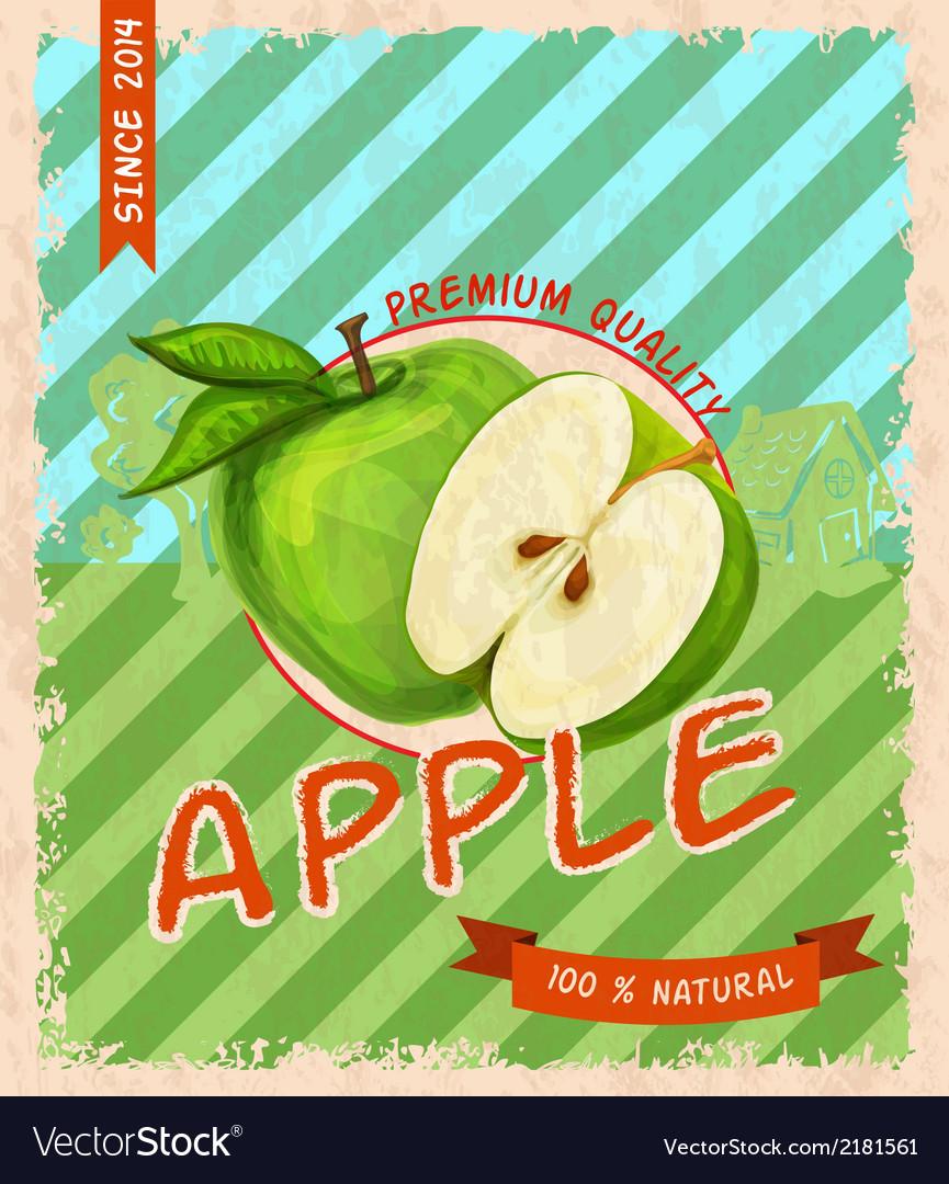 Apple retro poster vector | Price: 1 Credit (USD $1)