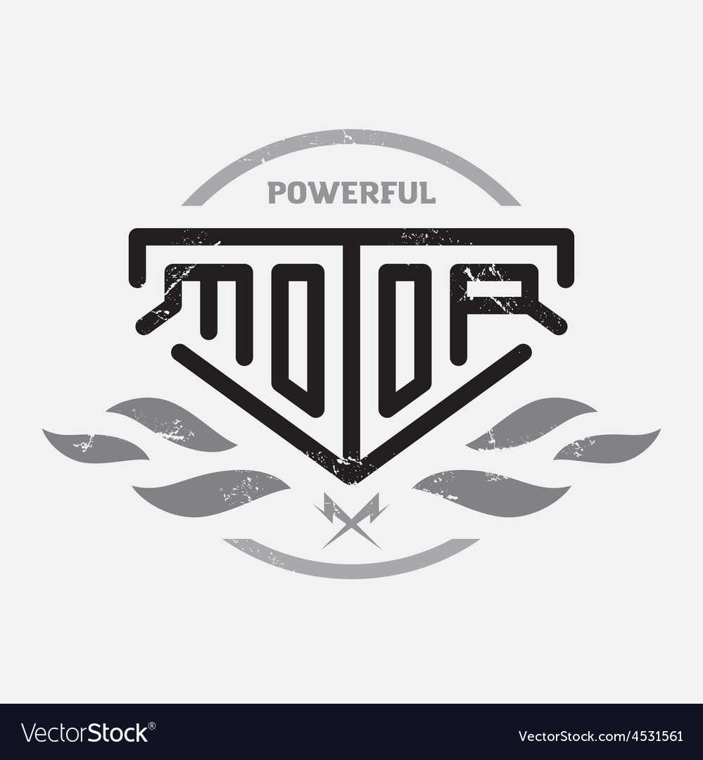 Automotive motorcycle badge with fire and bolts vector | Price: 1 Credit (USD $1)