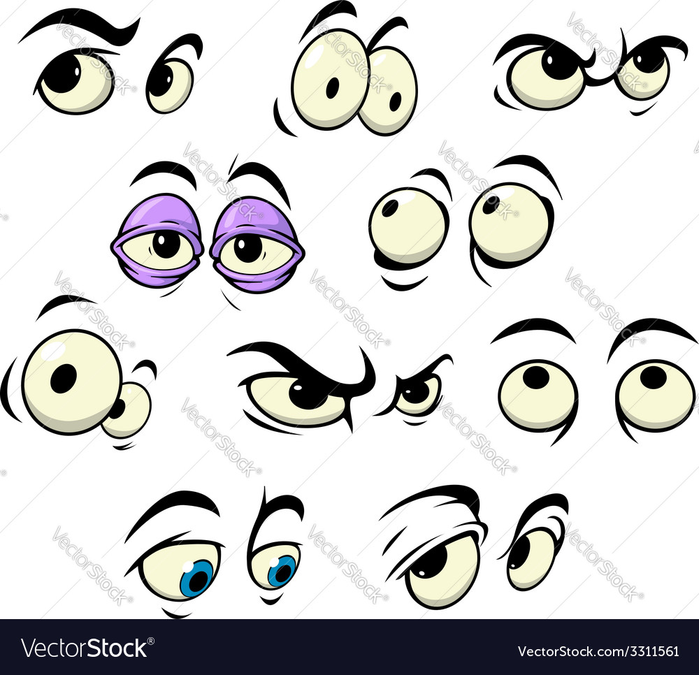 Cartoon eyes with different expressions vector | Price: 1 Credit (USD $1)