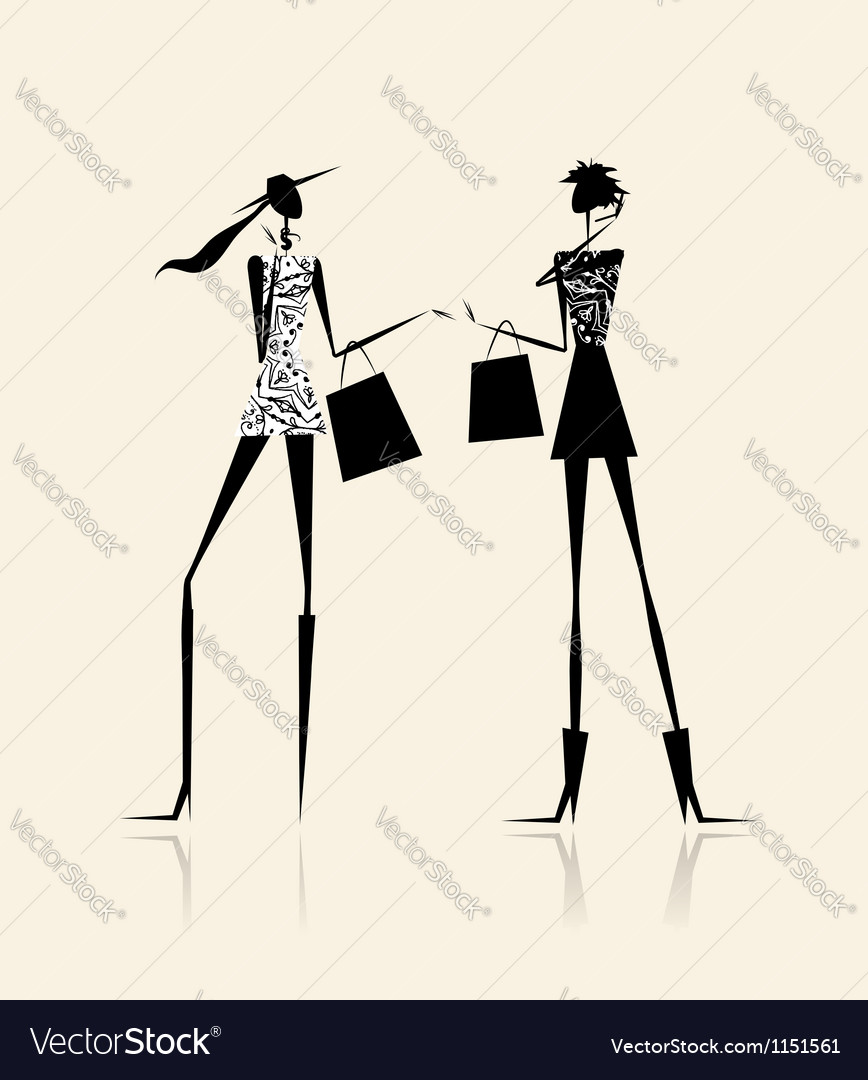 Fashion girls with shopping bags for your design vector | Price: 1 Credit (USD $1)