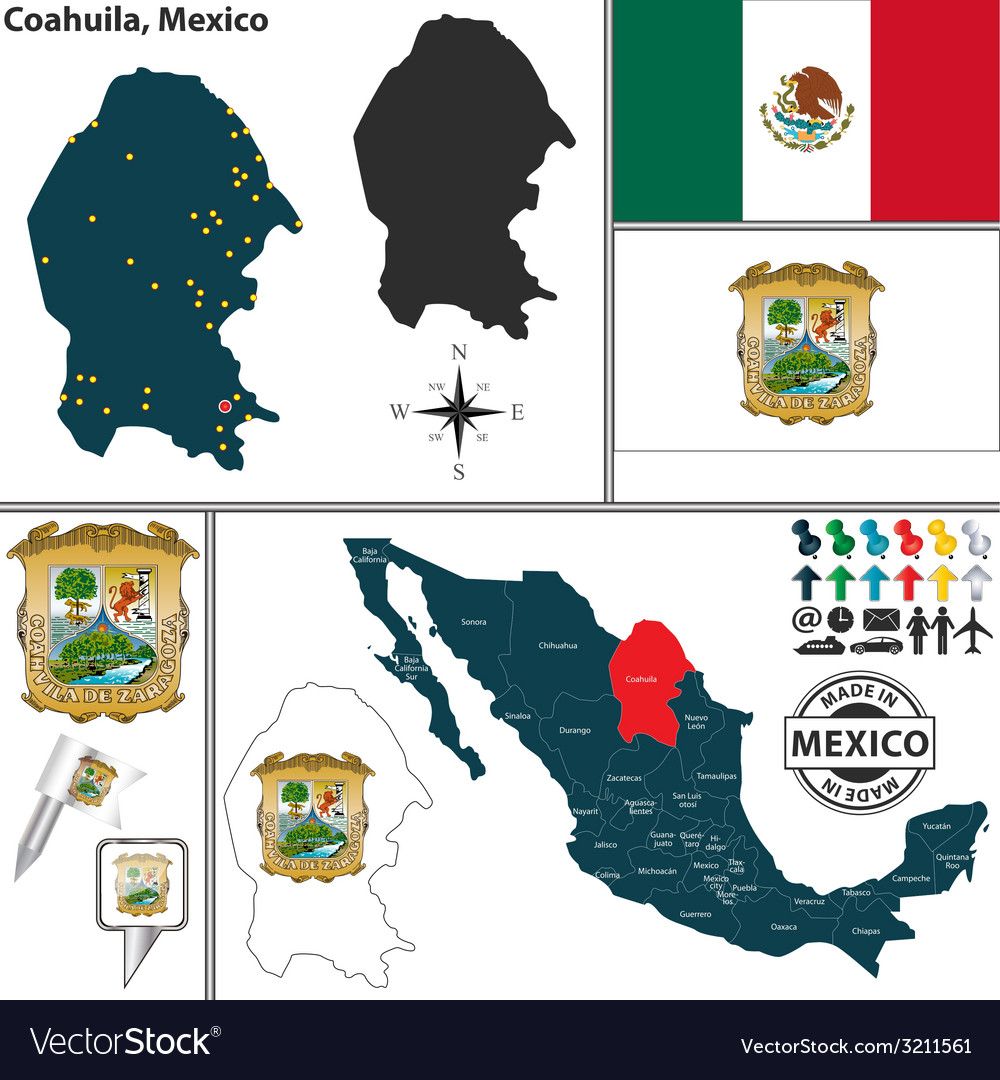 Map of coahuila vector | Price: 1 Credit (USD $1)