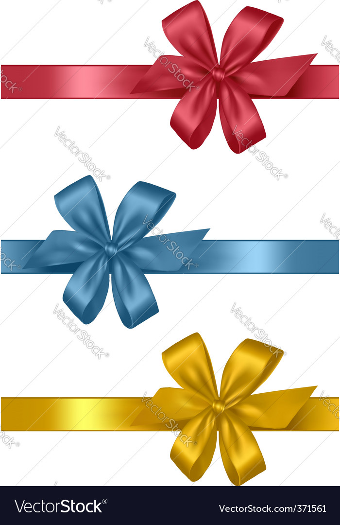 Three colored gift bows vector | Price: 1 Credit (USD $1)