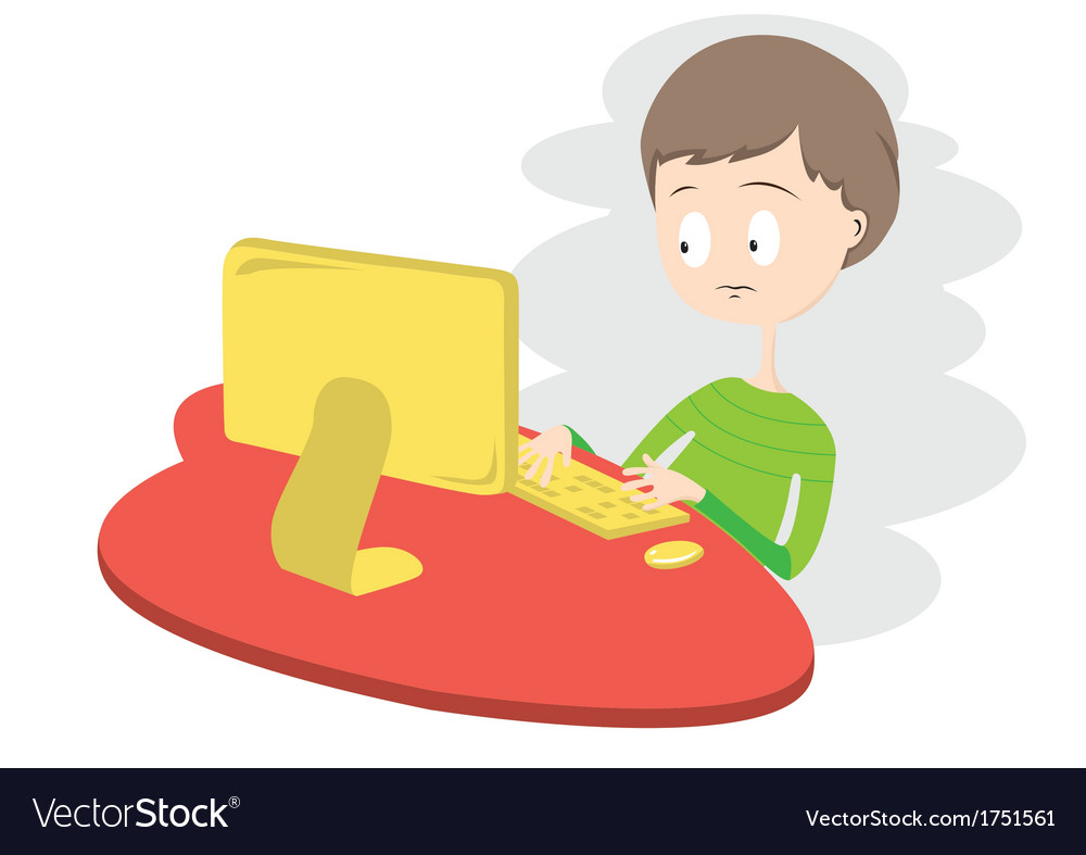 Unhappy boy using computer vector | Price: 1 Credit (USD $1)